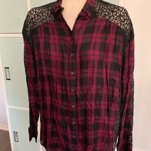 Black and burgundy fancy flannel
